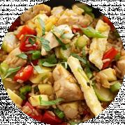 Ris med Kylling Karry og Grøntsager